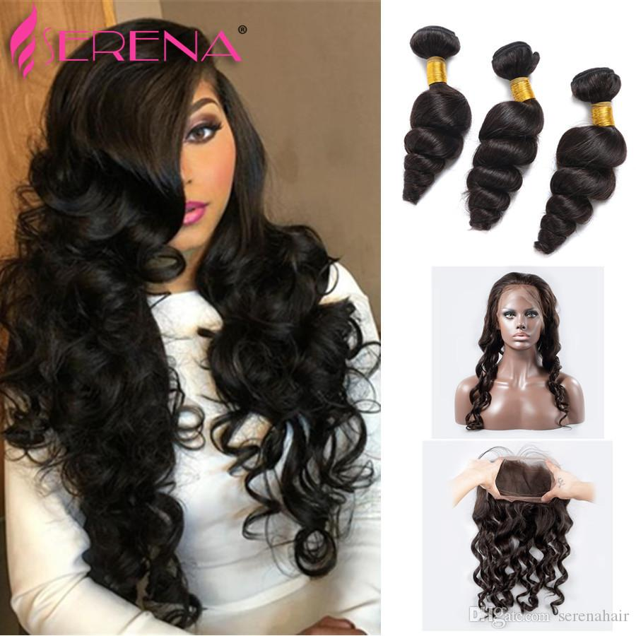 360 Lace Frontal With Bundle Loose Wave Lace Frontal Closure With Bundles 4Pcs Malaysian Virgin Hair With Lace Frontal Closure