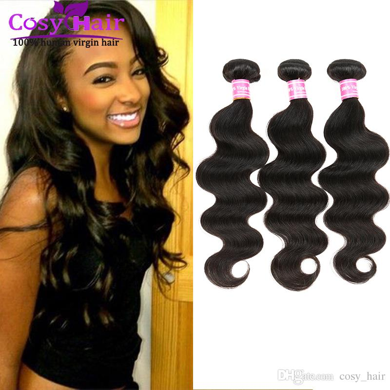 Brazilian hair body wave human virgin hair extension weft remy human India hair unprocessed soft Malaysian body wave free shipping Color 1B