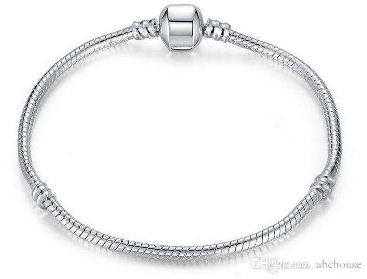 925 Silber überzogene Armband Schlangenkette mit Fassverschluss Passende europäische Perlen für Pandora-Armbänder mit ohne Logo DIY 20 PC Kostenloser Versand