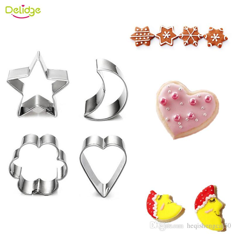 Delidge 4 pcs /set Star Moon Heart Flower Cookie Mold Stainless Steel Fondant Cake Cutter Candy Paste Decoration Biscuit Mould