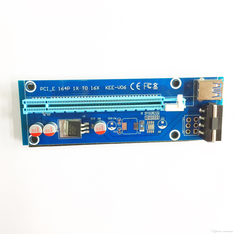 2017 جديد PCI-E PCIe PCI Express كبل بطاقة 1x إلى 16x Riser USB 3.0 موسع الكابل مع ساتا إلى 4Pin IDE موليكس التيار الكهربائي