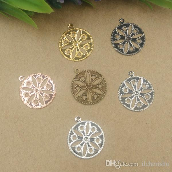 Filigree Feather Flowers Metal Slice Charm Pendant DIY Jewelry Accessories Craft