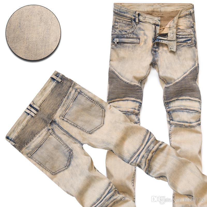 Fashion Men's Distressed Ripped Jeans Famous Fashion Cool Designer Slim Motorcycle Biker Causal Denim Pants Runway Jeans