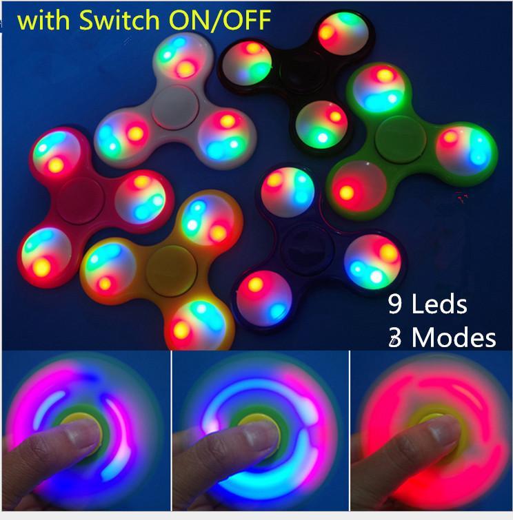 Светодиодная ручная вертушка пластик LED непоседа блесны палец оксиметр три гироскопа-Волчок Handspinner непоседа ВДГ игрушки декомпрессии игрушки