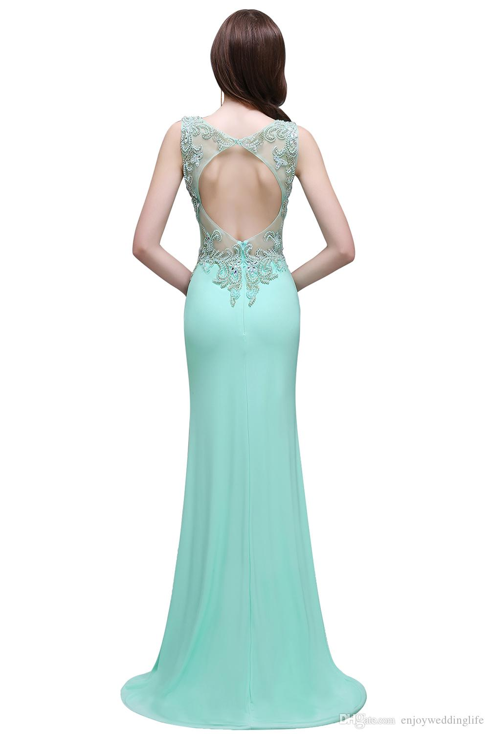2017 New Designer Mint Green Crystals Prom Dresses Straps Sweetheart ...