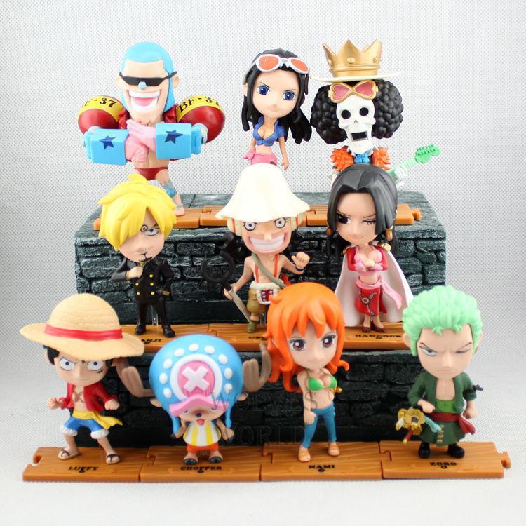 10pcs One Piece Luffy Nami Zoro Amine PVC Action Figure Figures Toys Dolls Set