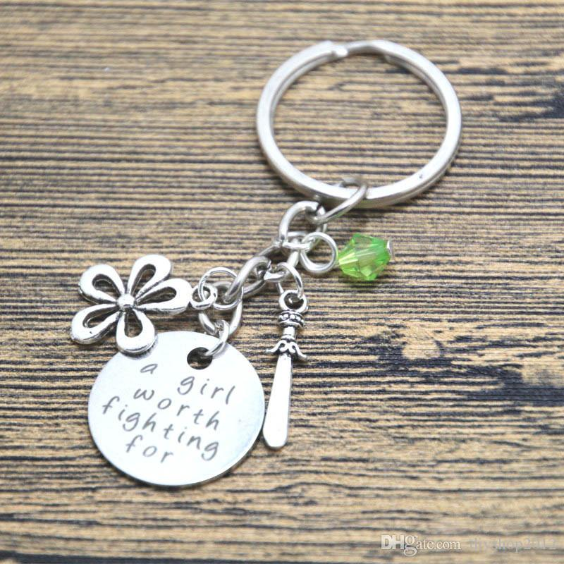 12pcs/lot Mulan Inspired keyring A Girl Worth Fighting For Silver tone crystals for women or girls. Hand stamped