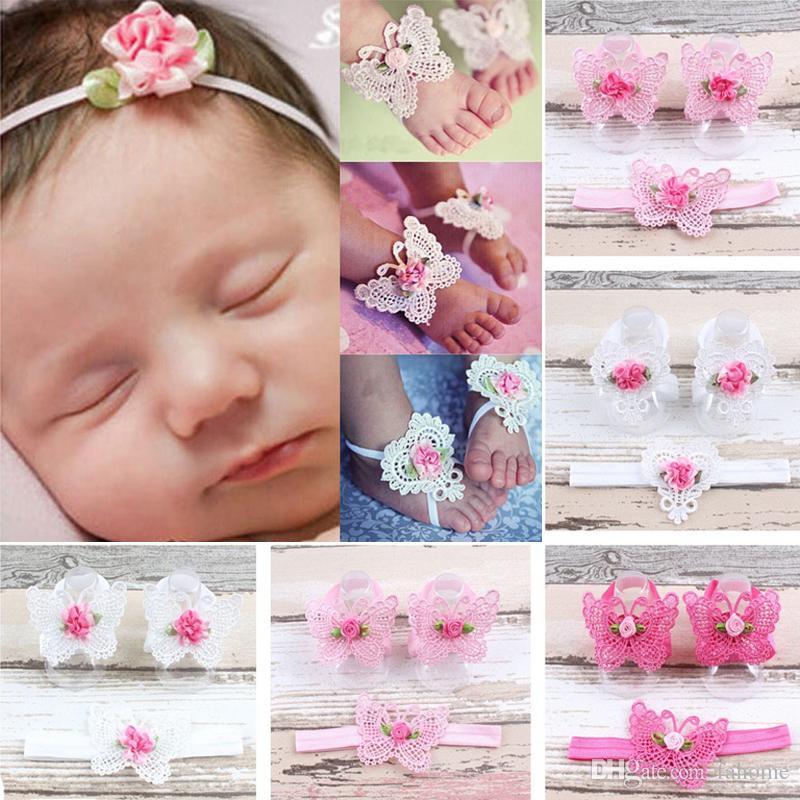 Fotoğraf için Yenidoğan bebek çiçek saç bandı Ve Halhal şifon çiçek ayakkabı Bebek İlk Walker Bebek Bebek Ayak Rings sahne