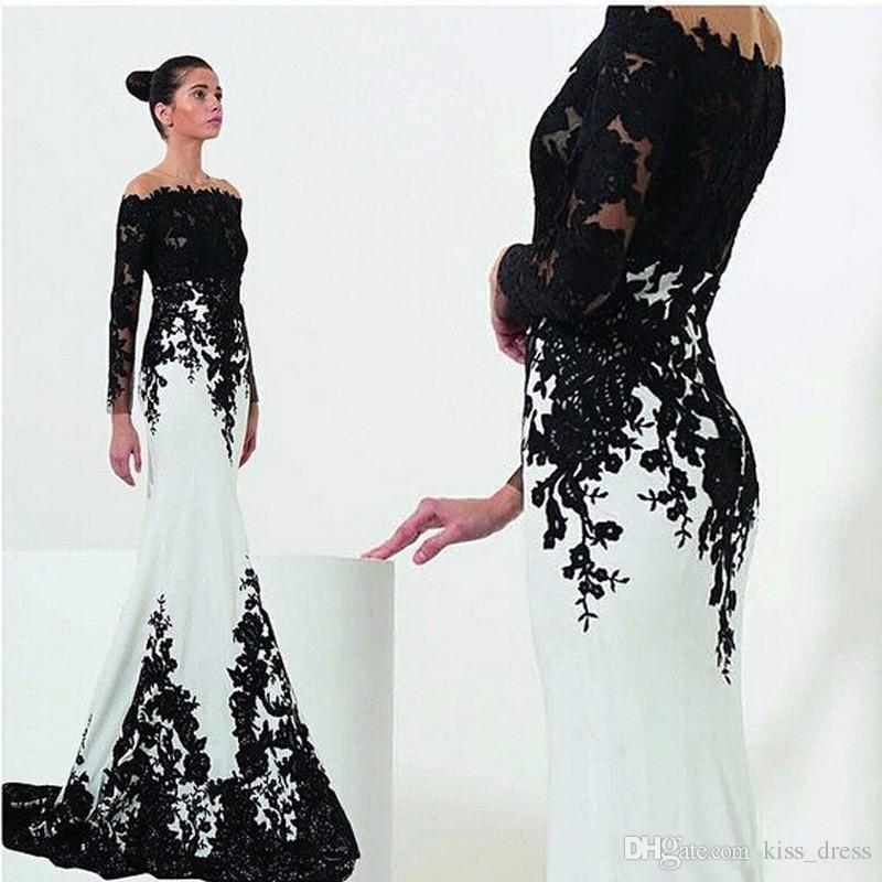 Nuovi abiti da sera bianchi e neri Maniche stile sirena Sweep Train Pizzo Off-the-spalla Abiti formali Abiti Vendite calde su misura E101