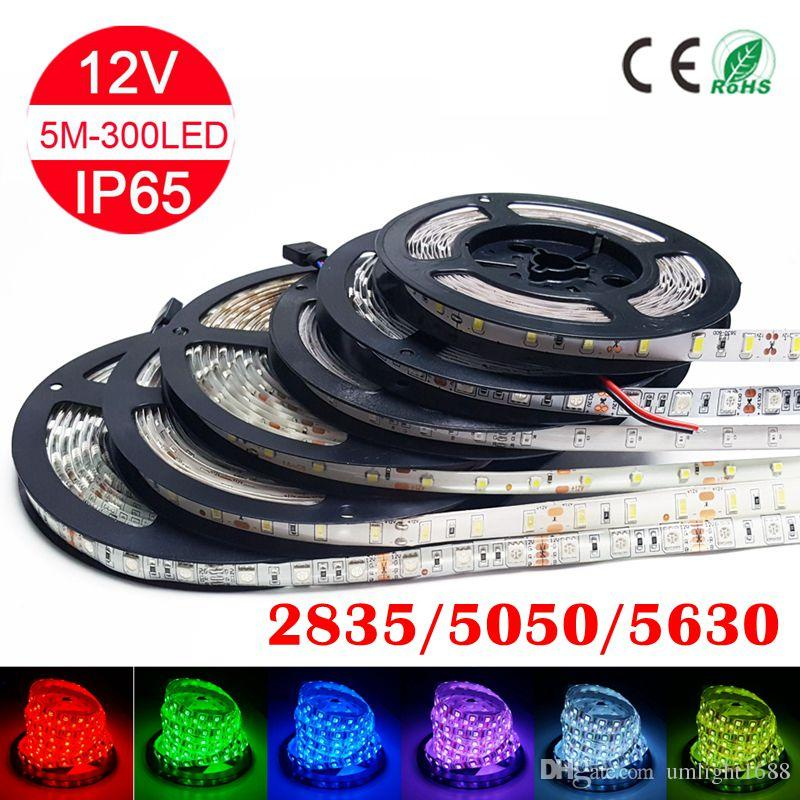 100m 따뜻한 LED 스트립 빛 2835 5050 5630 SMD RGB 화이트 블루 그린 레드 방수 비 방수 300LED 3000 LM 유연한 믹스 컬러