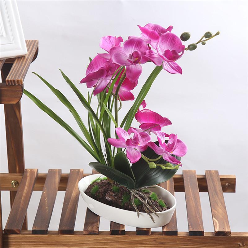 1 Pot Decor Artificial Orchid Simulation Bonsai Green Plant With Flower Vase For Home Wedding Living Room Tv Desk Arrangement Decorative