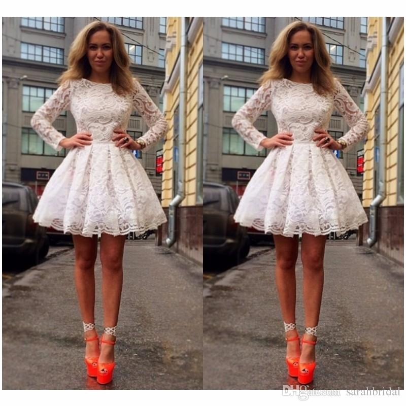 2019 White Celebrity Holiday Dresses Short Mini Long Sleeves Gowns For Special Occasion Formal Prom Full Lace Evening Dress African 2019 Dress For