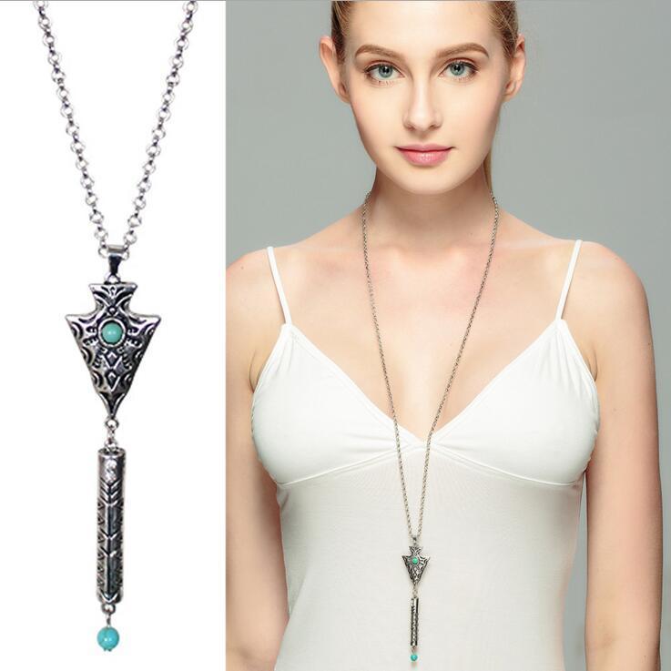 الفيروز قلادة طويلة 2-لون اختياري موضة جديدة مجوهرات للنساء ملابس إكسسوارات كرافت قلادة الشحن المجاني