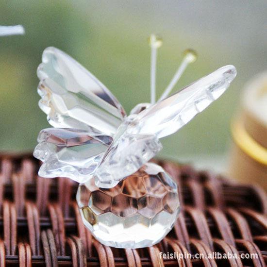 omaggi di favore dell'acquazzone di bambino per l'ospite - regalo di favore dell'acquazzone nuziale di cristallo della farfalla di cristallo dell'accumulazione 100pcs / lot