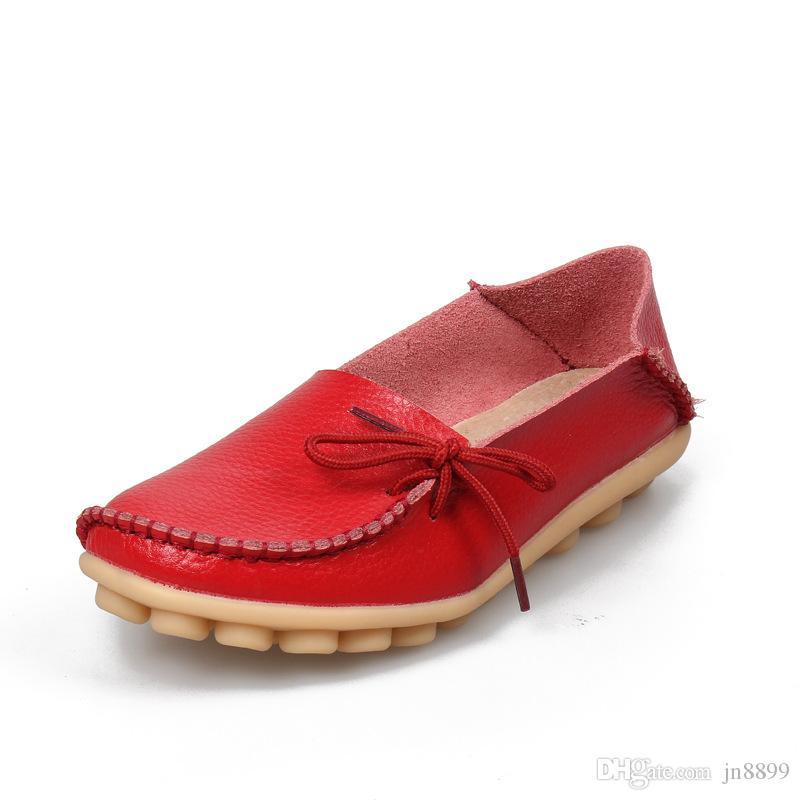 Heißer Verkauf Mokassins Frauen Weiche Freizeit Wohnungen Weibliche Fahren Schuhe Loafers Mutter Freizeitschuh Mode Frau Echtem Leder Schuhe Größe 34-44