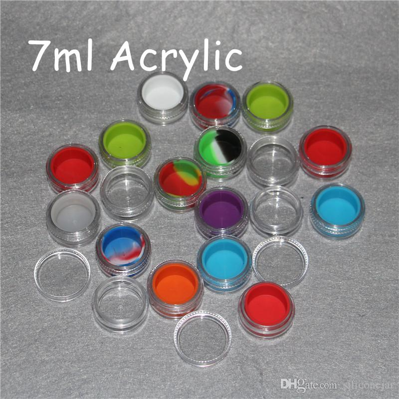 100pcs Acrylic silicon container 5ml 7ml 10ml wax concentrate silicone containers ABS non-stick dab bho oil jars tool storage jar holder vap