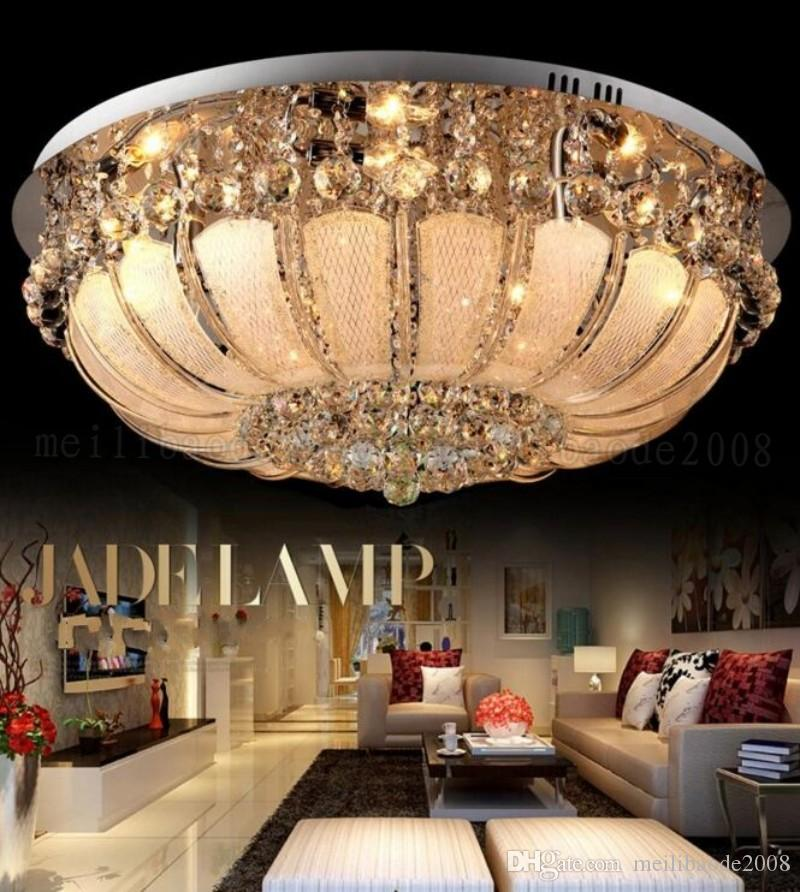 Round crystal chandeliers diameter 48/60/80cm surface mount ceiling lamp E14 led glass chandelier lights hotel foyer living room bedroom MYY