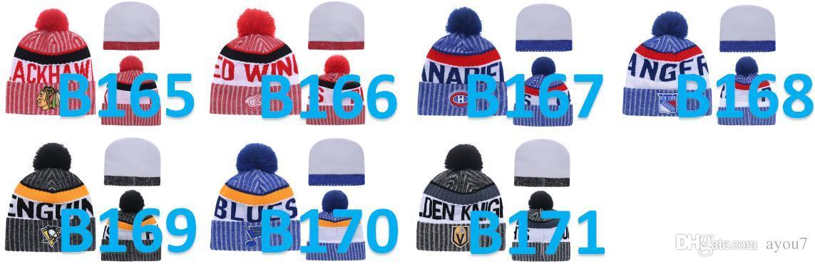 Freier Shipping-amerikanisches Eishockey Beanie Winter-Wolle-Hut