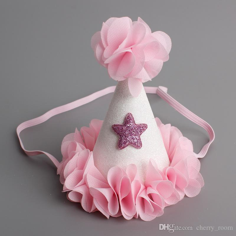 Nuovo Appena nato sveglio Mini Chiffon bambine Cappello Corona Petali Caps Fiori Fasce Per neonate della festa di compleanno Cappelli Accessori per capelli A6888