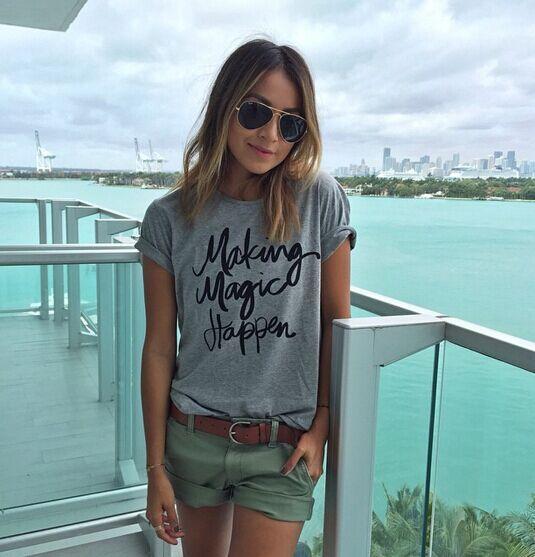 Atacado- 2016 verão sólida impressão camiseta femme camisas poleras punk femininas ropa mujer tumblr feminino vetement t camisas mulheres tshirt