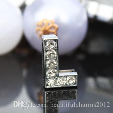50pcs / lot 10mm L lettera di diapositiva piena di strass Bling accessori in lega fai da te misura per 10mm braccialetto braccialetto 0032