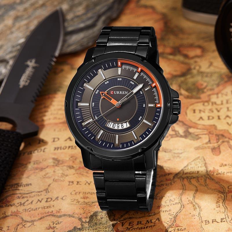Curren Homens Esportes Relógios Calendário de Quartzo de Aço Inoxidável Do Exército À Prova D 'Água relógio de Pulso Masculino Atacado Relogio masculino 8229