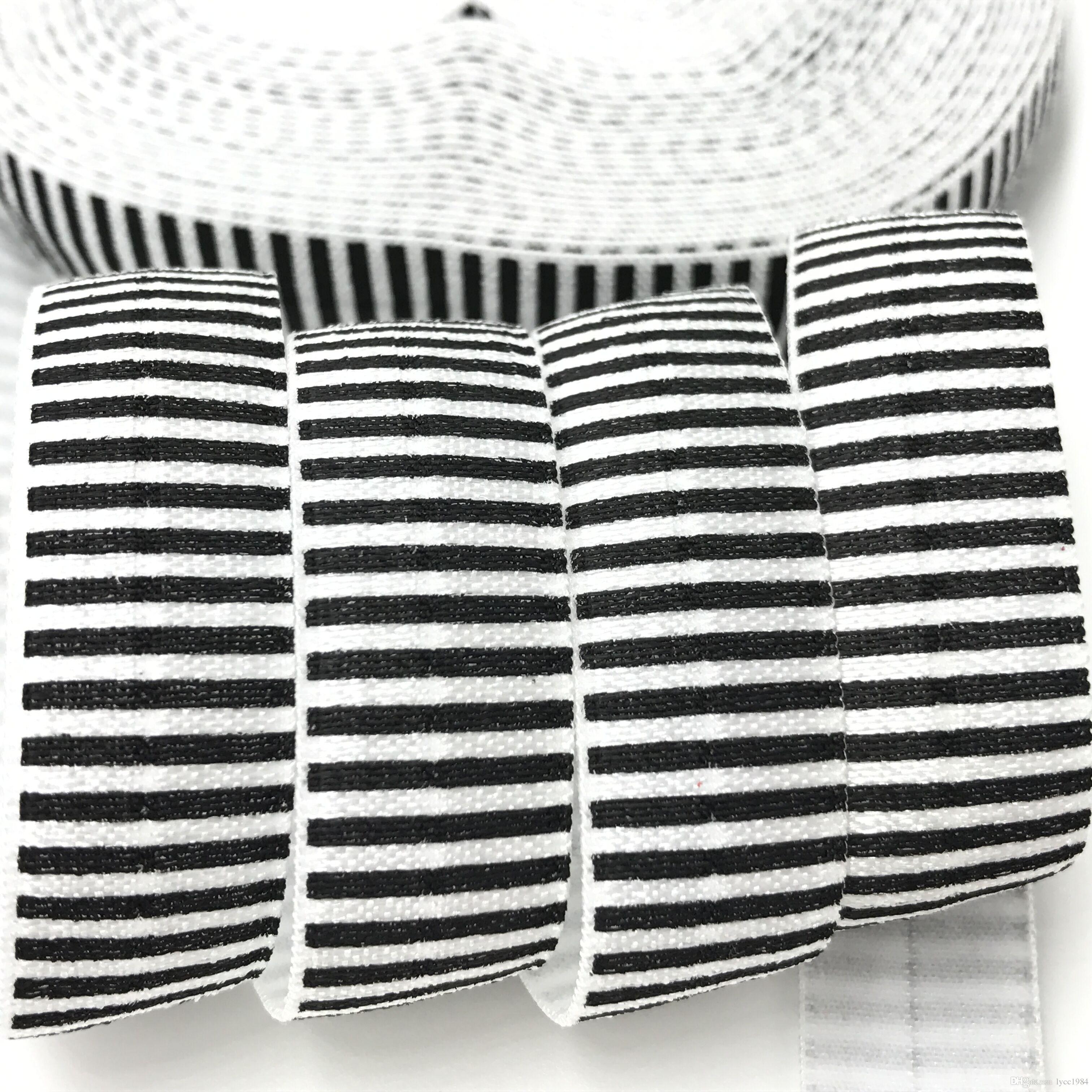 """100 yards schwarz streifen drucken falten über elastische 5/8 """"FOE Band Gurtband für Mädchen Haargummi DIY Kopf tragen Haarschmuck Armband Armband"""