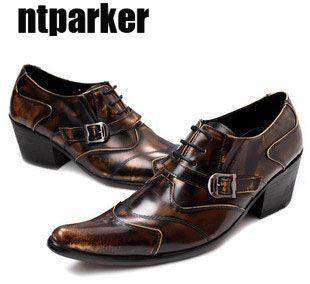 Scarpe da punta scarpe da uomo in vera pelle da uomo Scarpe da lavoro formale formali in bronzo Zapatos Hombre 6,5 cm Tacchi alti US6-12