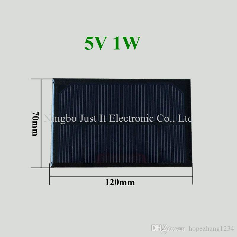 50pcs/lot Epoxy Small Solar Panel 5V 200mA 1W 120*70mm