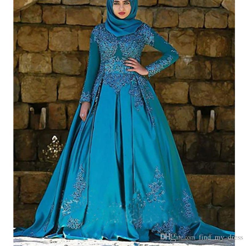 Teal Mavi Müslüman Balo Gelinlik Yeni Bahar Gelin Vestidos Uzun Kollu Saten Özel Boyut Aplikler Dökümlü Boncuk Moda