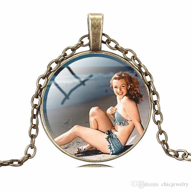 Marilyn Monroe Pendant Necklaces Charm Chains Time gem glass Statement Vintage Stainless Steel Glass Cabochon Chain Fashion jewelry 6 Colors
