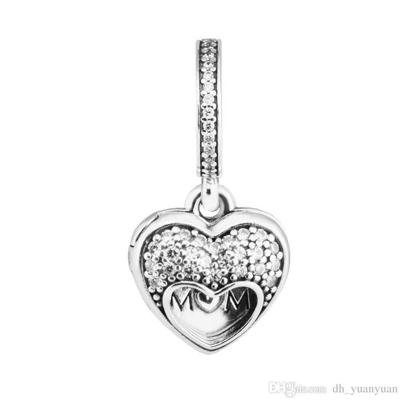J'aime ma mère charme cadeau ensemble 2017 Jour des mères 100% 925 Sterling Silver Perle Coupe Pandora Bracelet authentique Bijoux de mode
