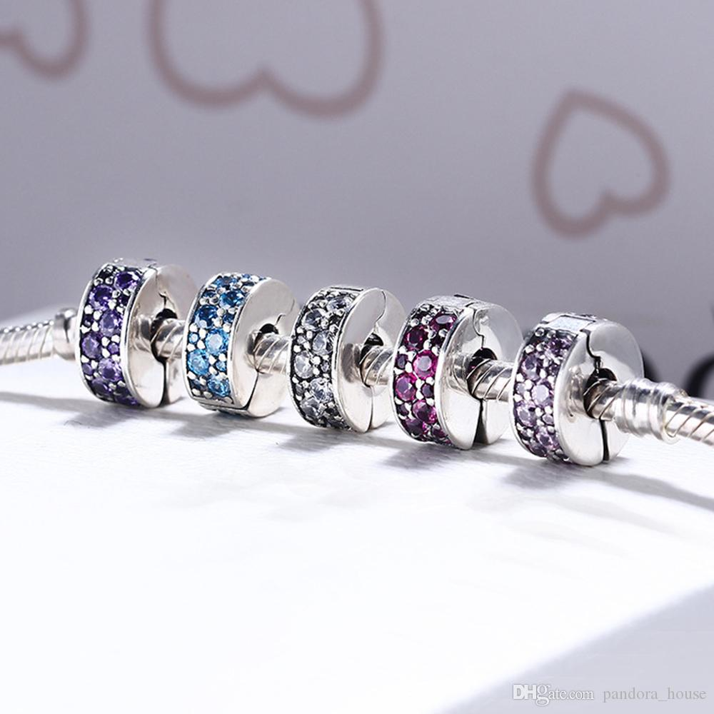 2016 Brillant Élégance Clip Fantaisie Violet CZ 100% 925 Sterling Argent Perle Fit Pandora Bracelet Bijoux De Mode DIY Charm Marque