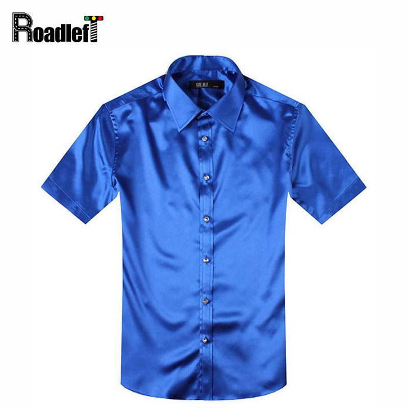 Al por mayor-verano masculino camisas de manga corta para hombre de seda slim fit camisa hombres vestido de camisa social esmoquin camisa hemden negro / rojo / blanco
