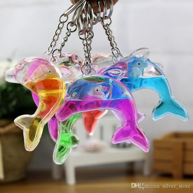 Dolphins floating bag pendant oil leak cartoon small gift creative key ring key ring aquarium gift KR349 Keychains mix order 20 pieces a lot