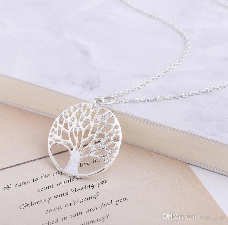 Los mejores agujeros redondos de regalo deseando el collar del árbol de la vida del árbol WFN441 (con la cadena) Orden de mezcla 20 piezas mucho