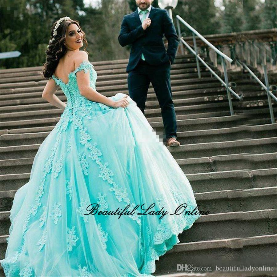 Baby Blue Princess Prom Dresses Graceful Lace Appliques Pearls Tulle ...