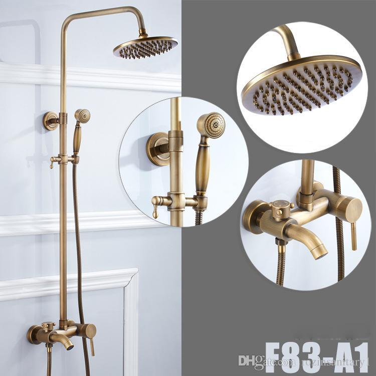 Bathroom Antique Brass Shower Faucet Rainfall Shower Head With Hand Shower Tub Spout Mixer Taps