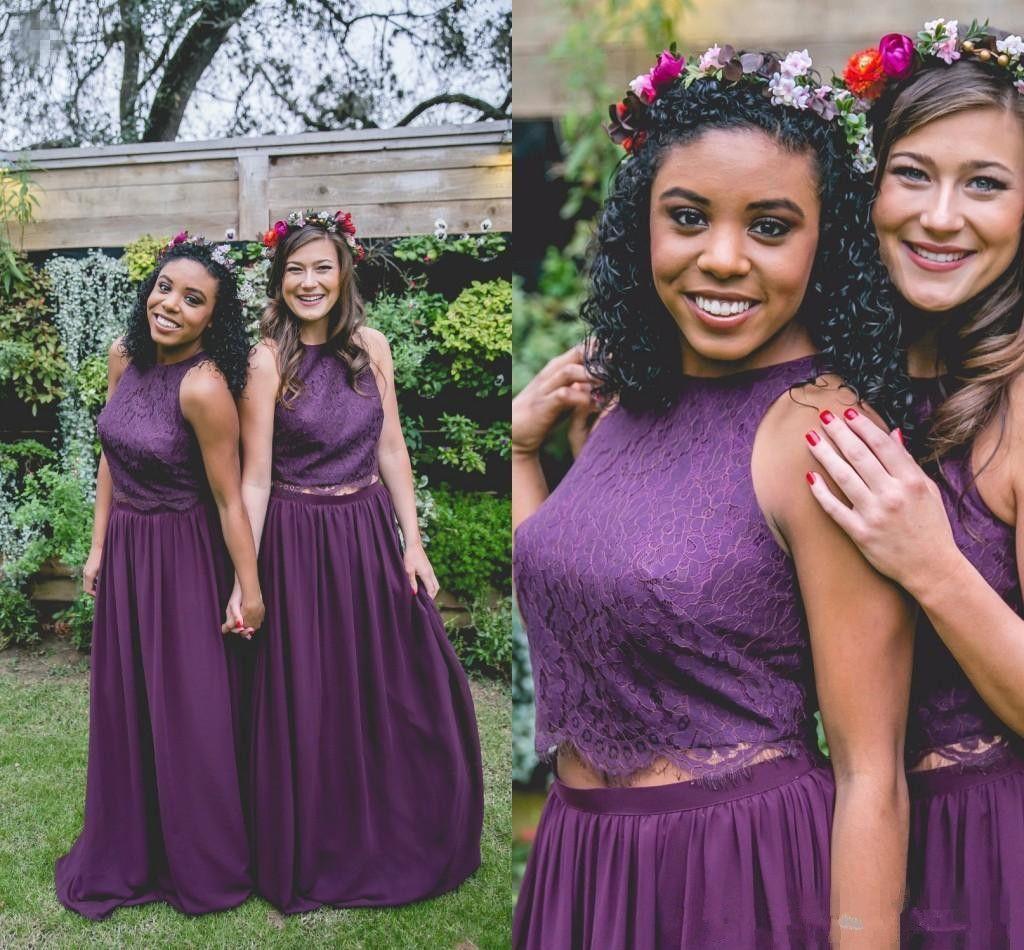 Elegant Two Piece Long Garden Bridesmaid Dresses 2017 Fashion Womens ...