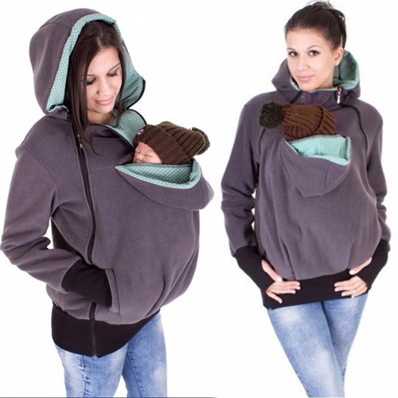 بالجملة، الطفل الناقل سترات الكنغر خارجية هوديس معطف للنساء الحوامل الحمل طفل يرتدي معطف المرأة LJ5494M