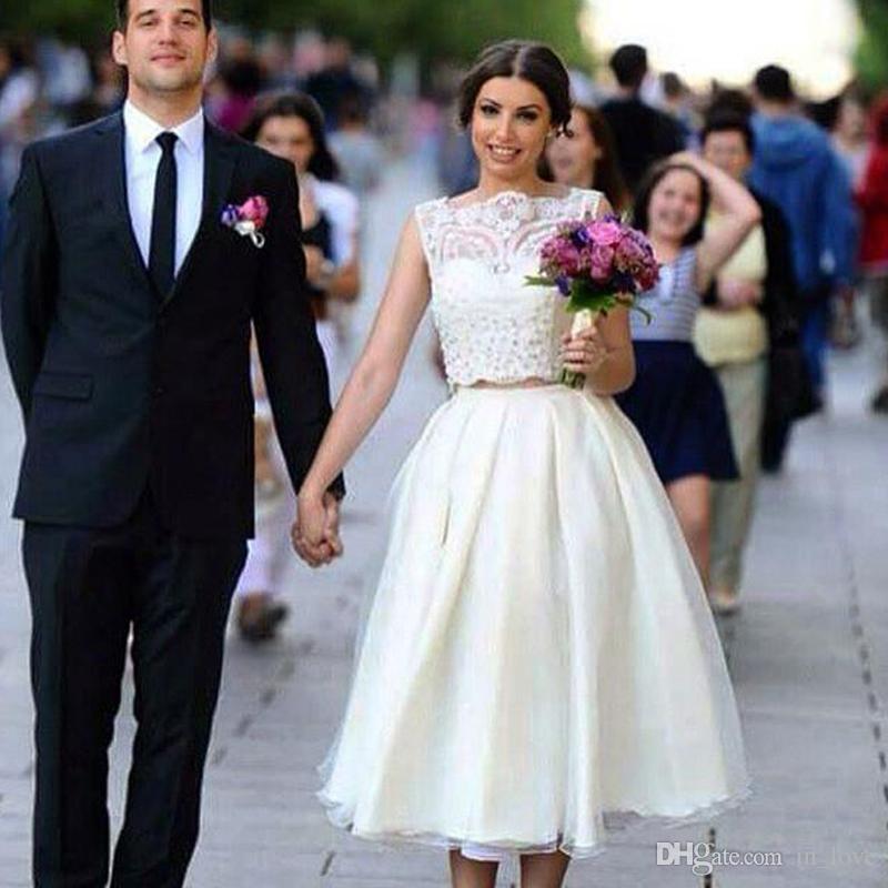 2 Pieces Wedding Dresses Sleeveless Bateau Neck Beaded Lace Tulle A Line Tea Length Fashion Bridal Gowns Custom Size