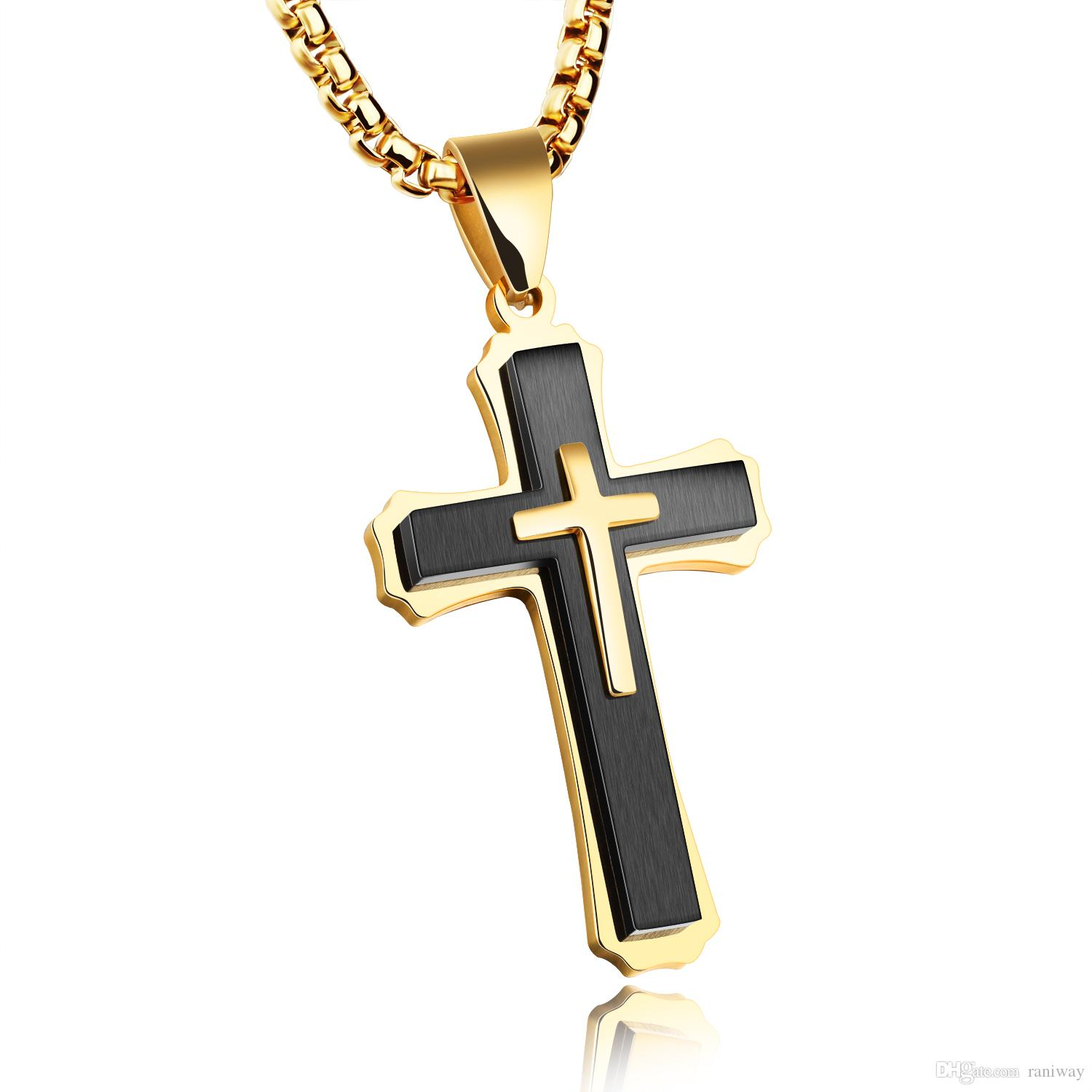 Men Large Polish Stainless Steel Three Giant Cross Pendant Necklace Silver//Black