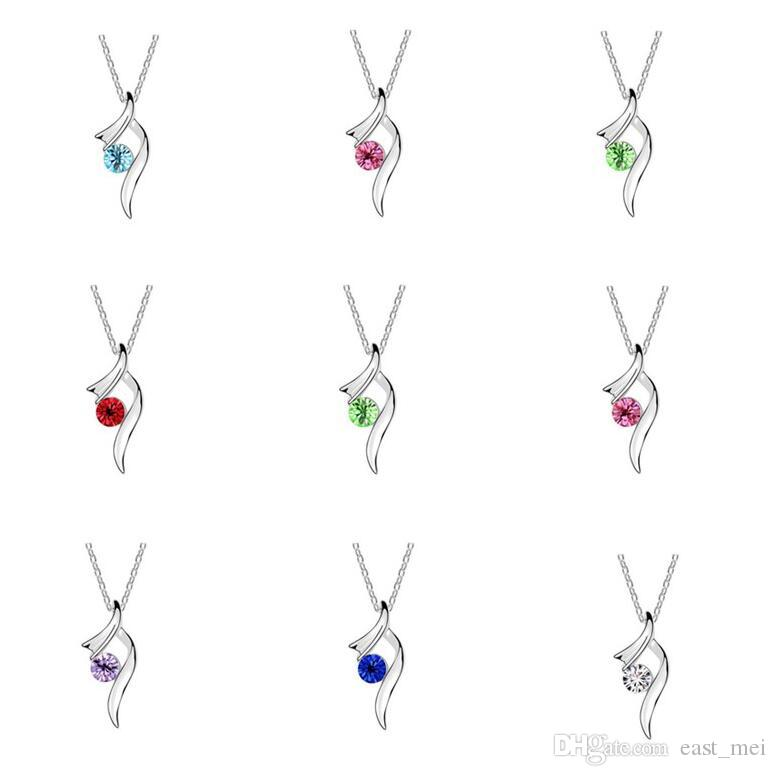 Brand new Austrian crystal necklace floating pendant female alloy ornaments WFN090 (with chain) mix order 20 pieces a lot