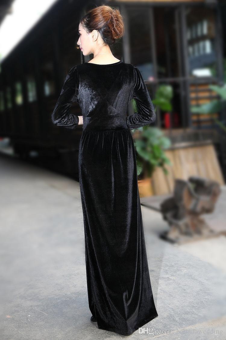 großhandel Übergrößen winterkleider abendgarderobe v ausschnitt langes maxi  samtkleid elegante damen formale party rote kleider von belindawedding,