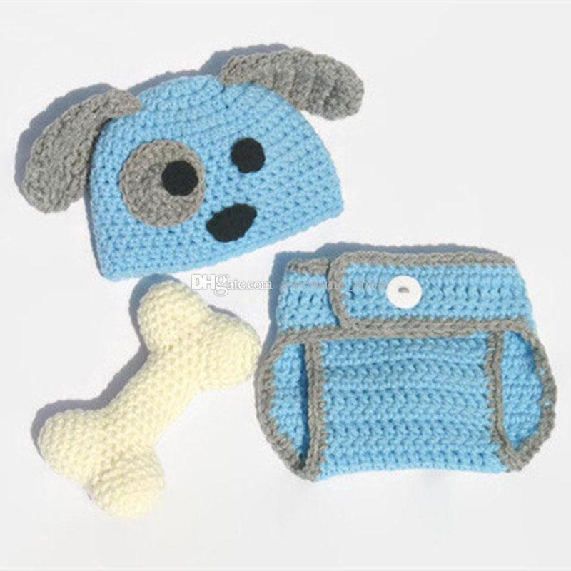 Adorable Blue Puppy Newborn Outfits,Handmade Knit Crochet Baby Boy Girl Animal Dog Beanie and Diaper Cover Set,Infant Halloween Photo Prop