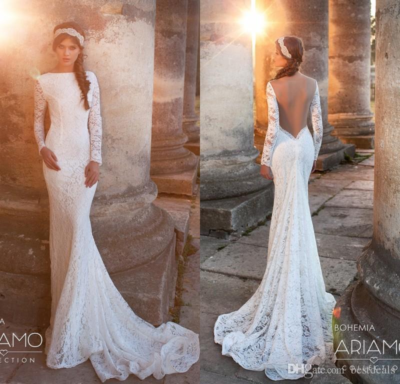 2017 Romantic Full Sleeves Lace Wedding Dresses Sexy Mermaid Open Back Bohemian Wedding Dress Simple Beach Bridal Gowns Vintage Inspired Wedding
