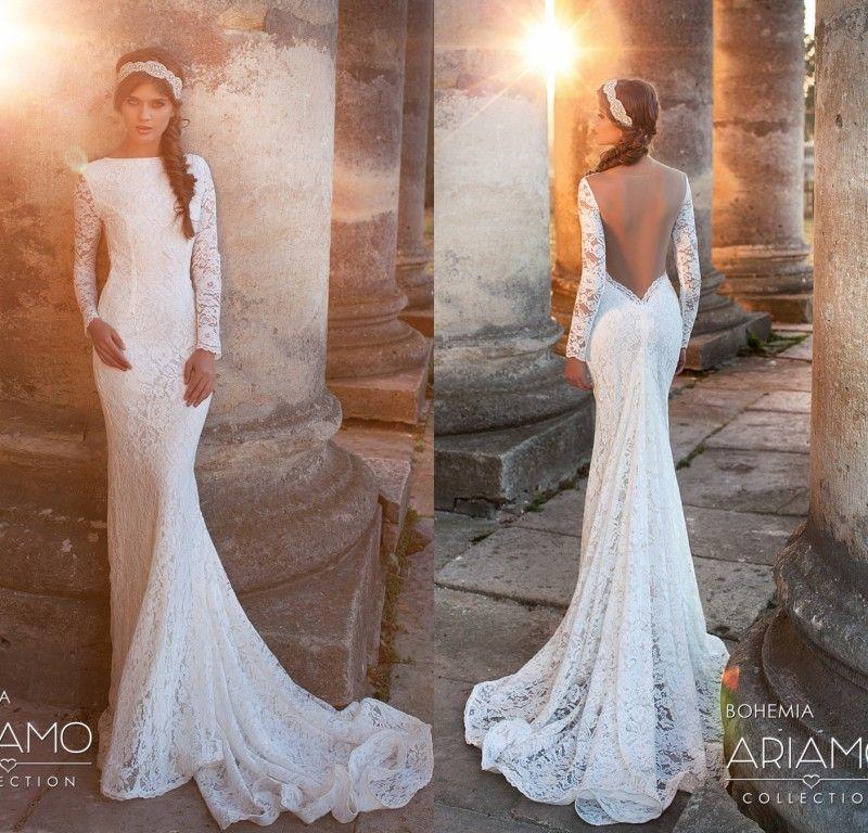 2020 낭만적 인 풀 슬리브 레이스 웨딩 드레스 섹시한 인어 열린 보헤미안 웨딩 드레스 간단한 해변 신부 가운