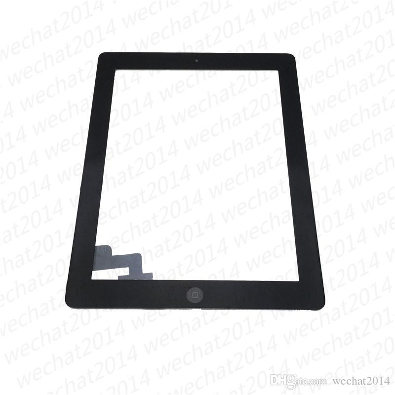 60PCS Touch Screen Glass Panel with Digitizer Buttons Adhesive for iPad 2 3 4 Black and White