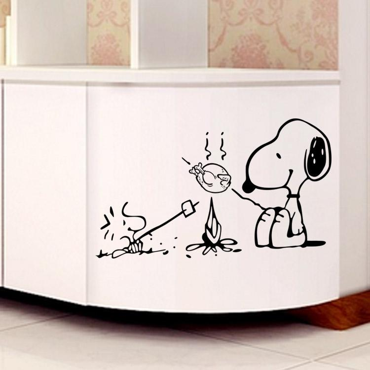 Cute Dog At The Barbecue Removable Vinyl Kitchen Decor Wall Stickers Home Decor Bakery Cafe Shop