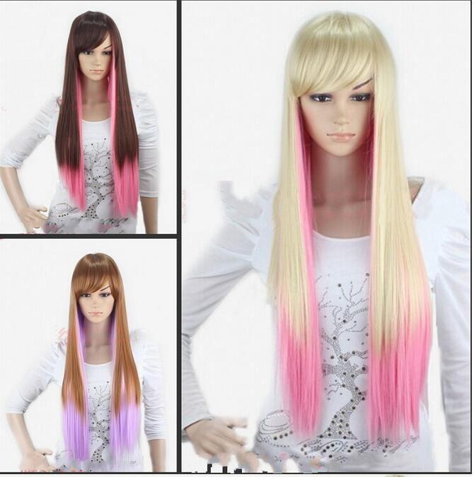 Cosplay anime harajuku sbiancamento sfumatura doppia pendenza parrucca colore lungo capelli lisci lunghi 75 cm capelli lisci
